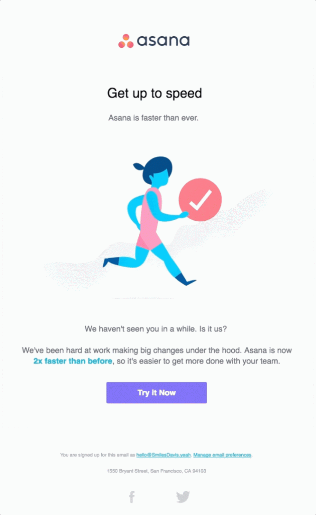 example of asana optimizing lead generation process with reengagement emails