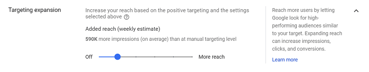google ads audience targeting expansion