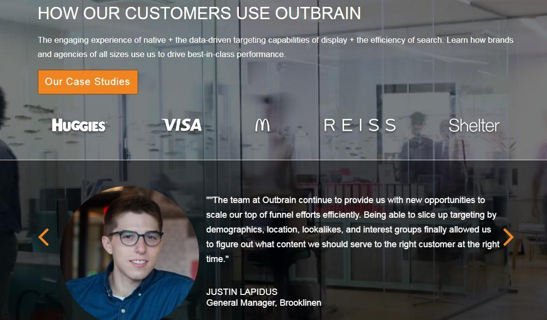 homepage design with case studies