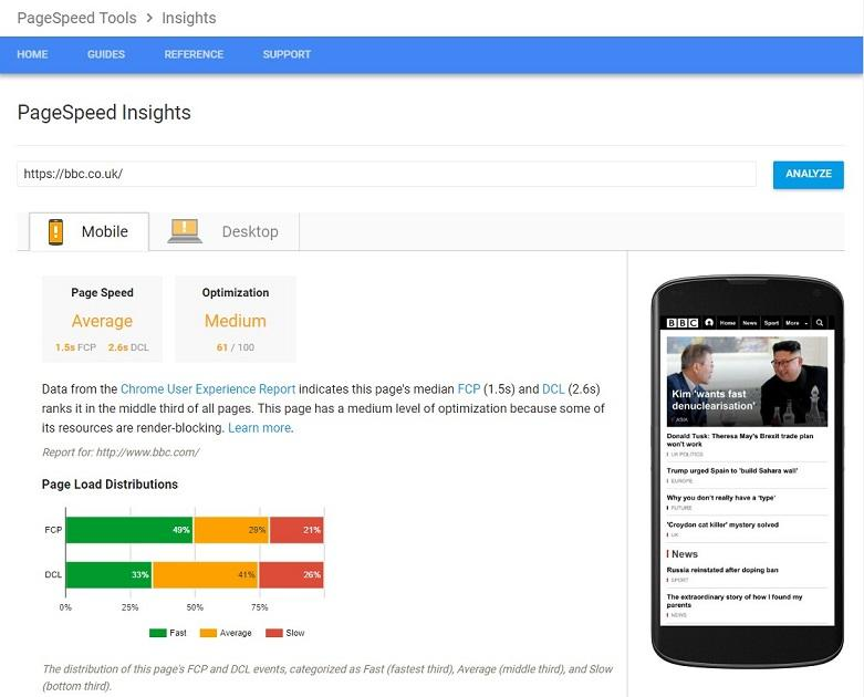 page speed Google's PageInsights tool