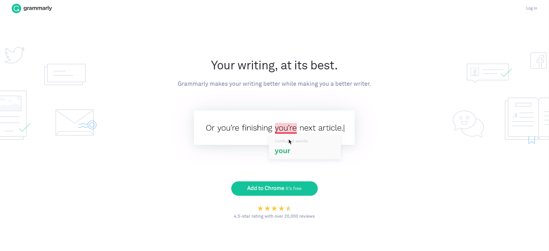 grammarly landing page example