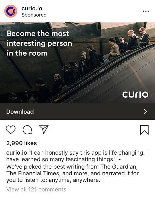 Curio.io Instagram ad