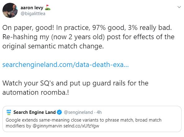 phrase-match-broad-match-modifier-close-variants-aaron-levy-tweet