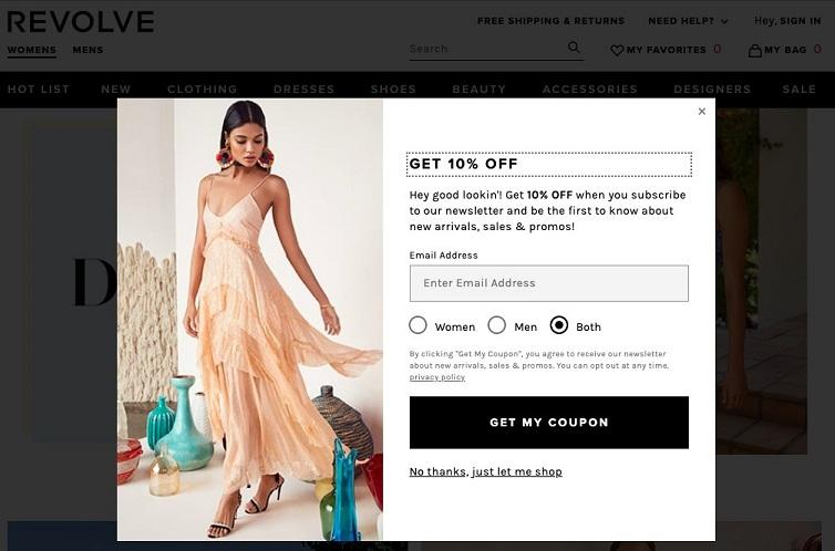 pop-up advertising on Revolve