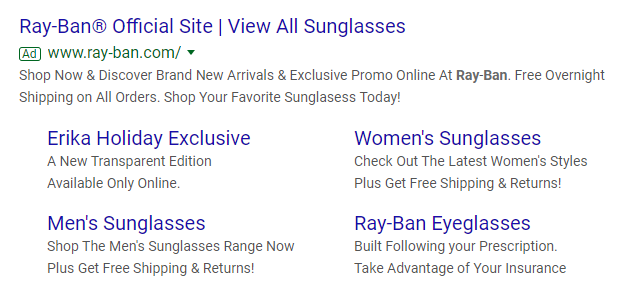 Ray Ban Google search ad example