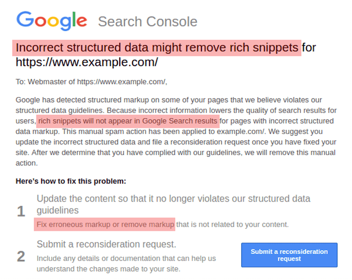 the schema markup abuse google penalty