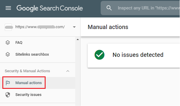 manual actions tab in google search console showing no google penalties
