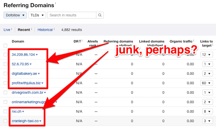 ahrefs backlink report showing junk referral domains