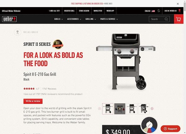 product description for a Weber grill