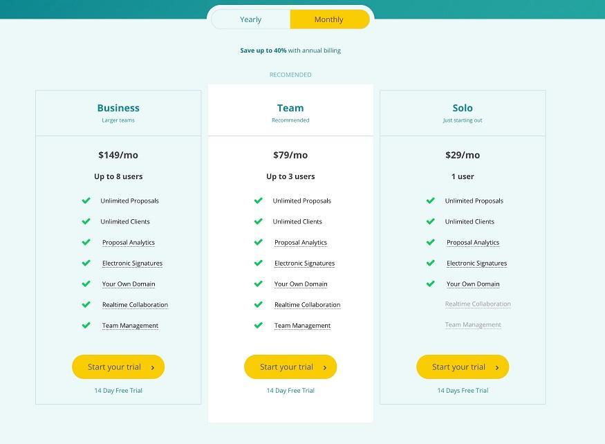 proposal generator tool Bidsketch pricing plans