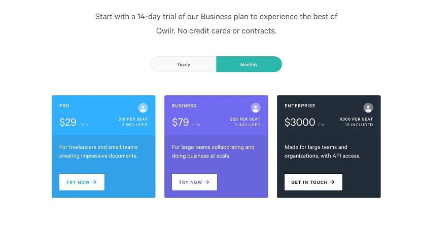 proposal generator tool Qwilr pricing plan