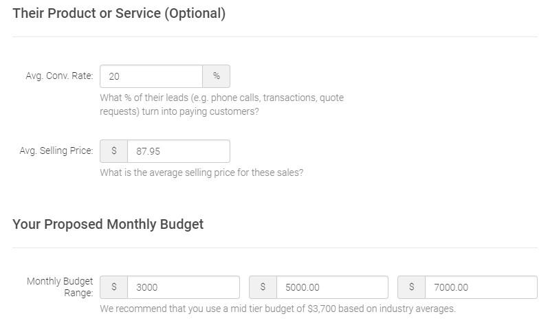 WordStream's proposed budget feature