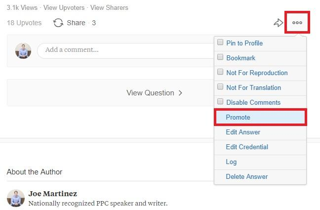 "updated ""Promote"" option on Quora"