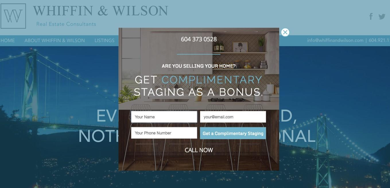 pop-ups for real estate landing pages