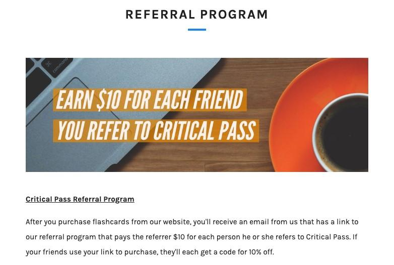 Critical Pass referral program offer