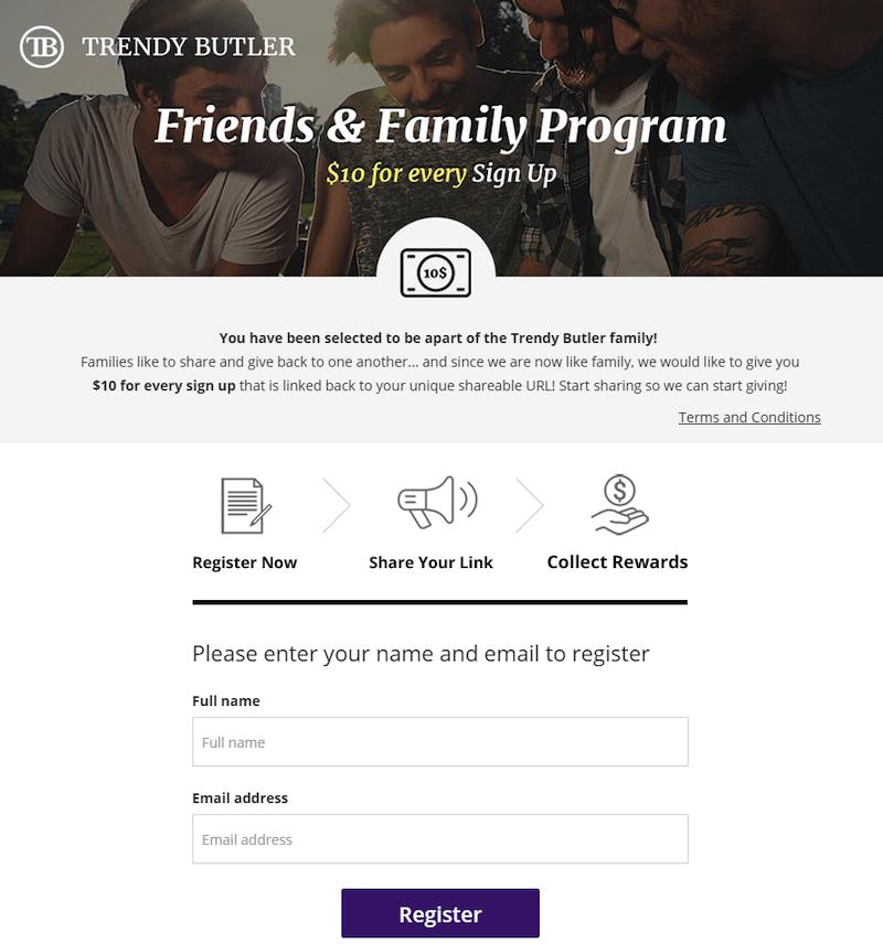 referral marketing landing page