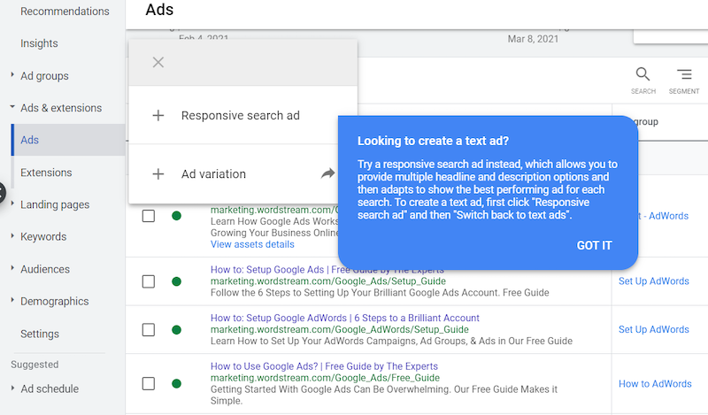 responsive search ad default