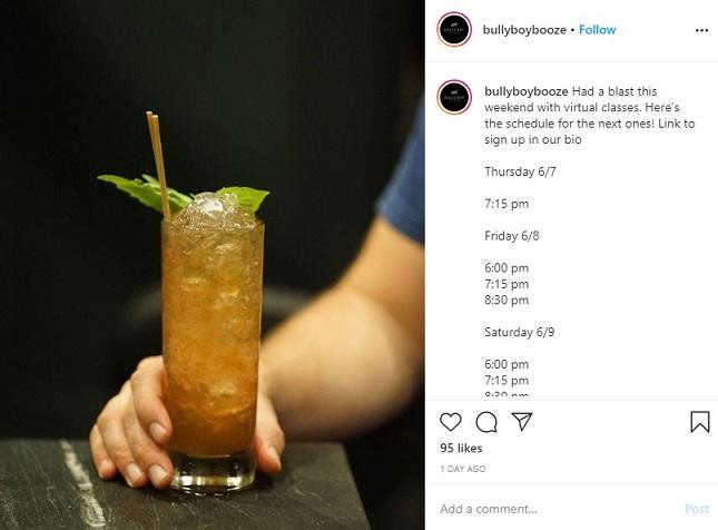 virtual cocktail class on Instagram from Bully Boy