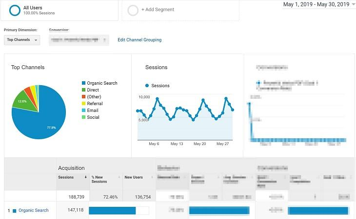 Google Analytic view for SEO case study
