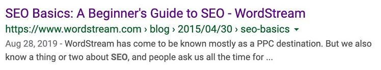 SEO basics search result