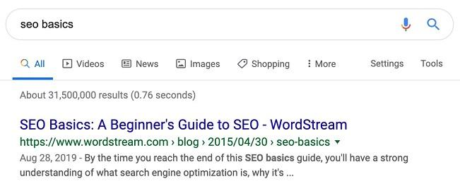 keyword example SEO basics