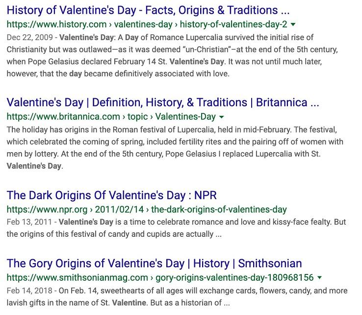 SERP for Valentine's Day