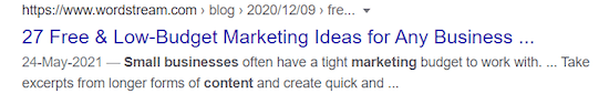 example of meta title which impacts SEO click thru rate