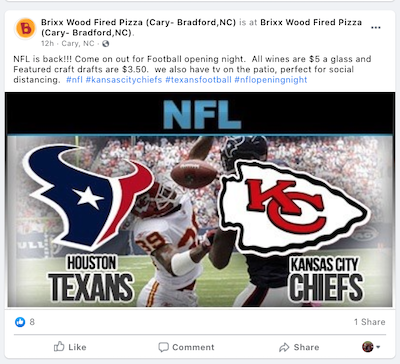 september marketing ideas NFL opening night