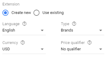 price extensions new