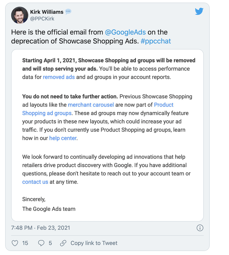 showcase shopping ads discontinued