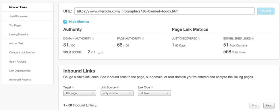off page seo link metrics