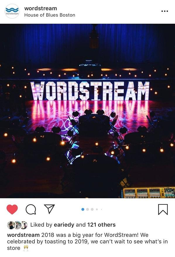 WordStream Instagram post