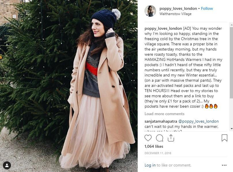 social media influencer post on Instagram