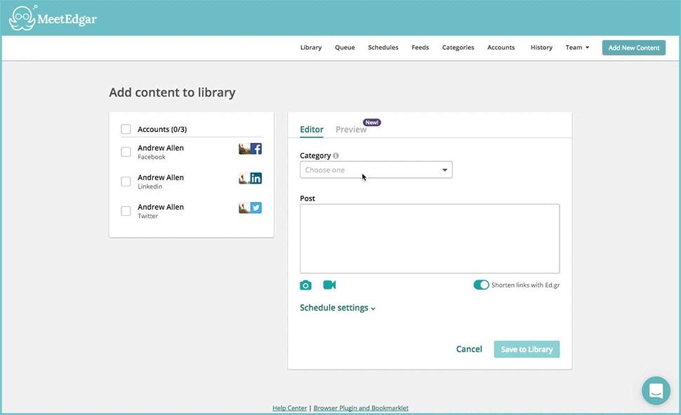 social media marketing tools MeetEdgar