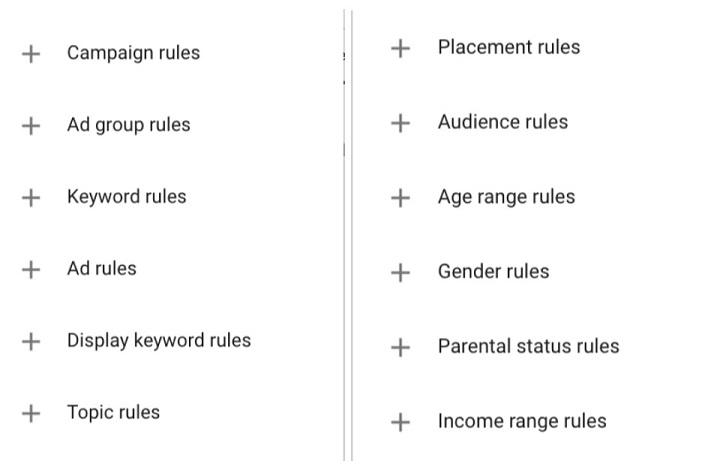 Automated rules options in Google Ads