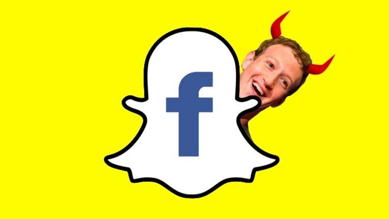 Snapchat logo with Mark Zuckerberg