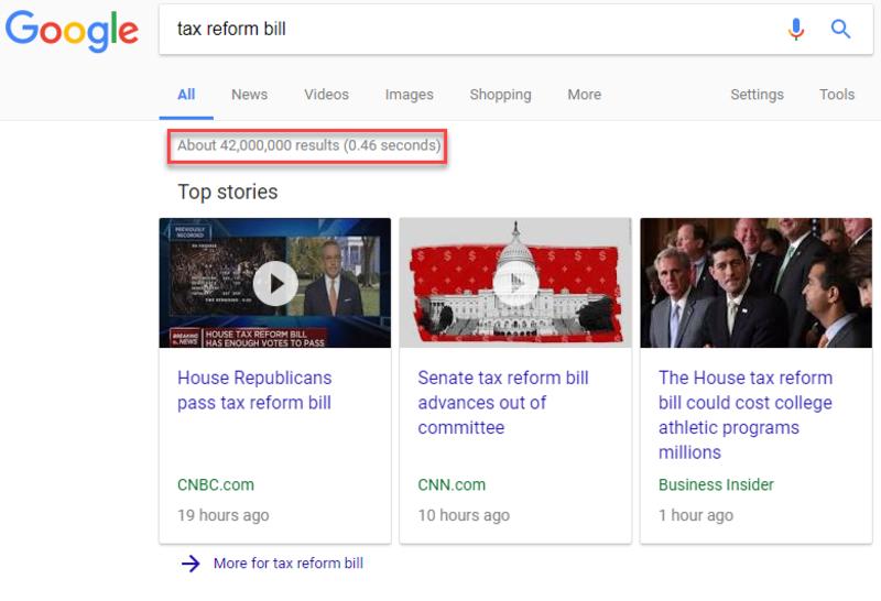 search tax reform bill