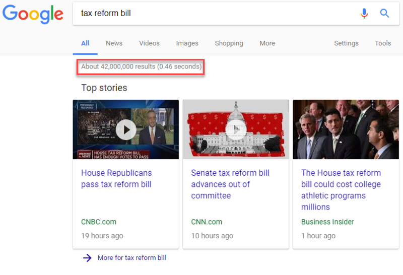 search tax reform bill
