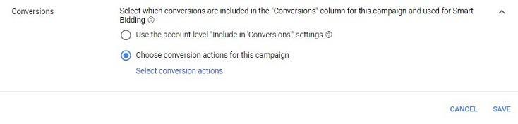 campaign-level conversions option