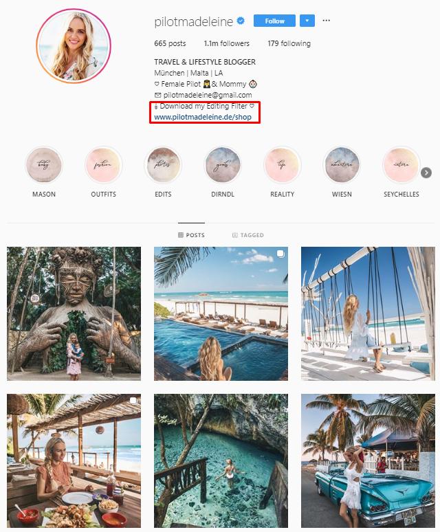 pilot madeleine Instagram feed