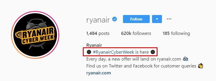 Ryan Air Instagram bio