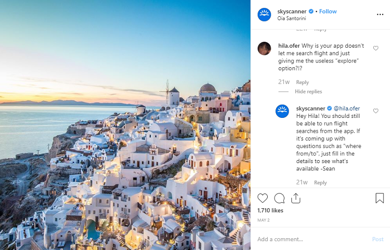 skyskanner Instagram post