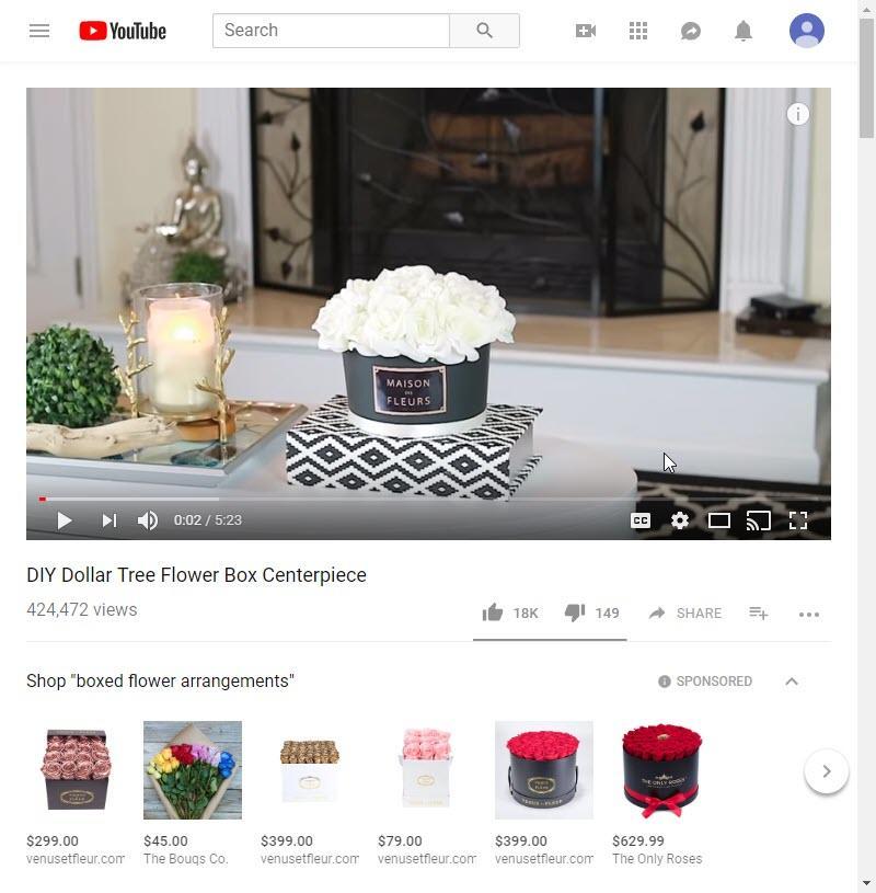 TrueView for Shopping flower ads