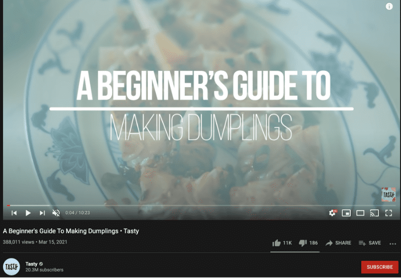 truly exceptional content marketing example tasty's youtube channel