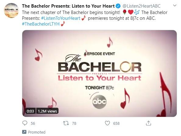 The Bachelor promoted tweet with video