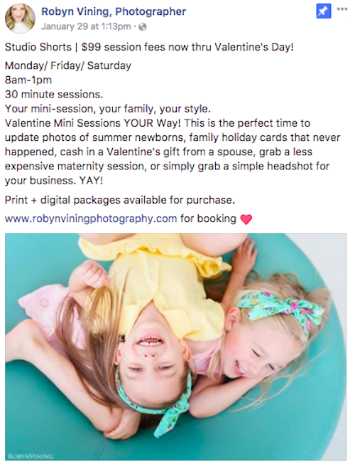 valentine's day marketing ideas mini sessions