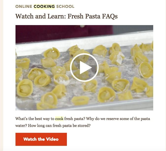 video email image with Fresh Pasta