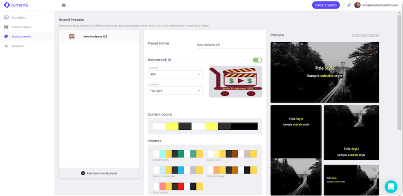 visual marketing tools lumen 5 color scheme