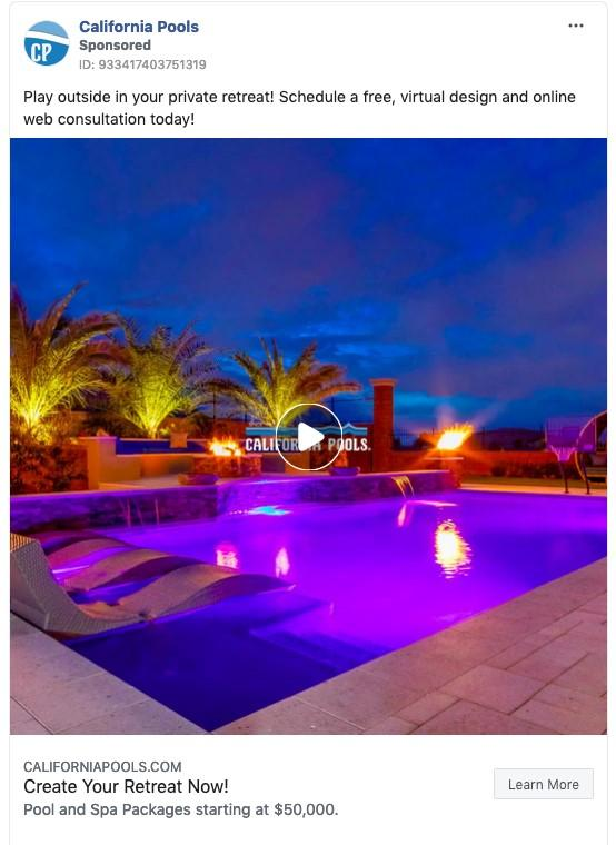 weather-based Facebook ad example for summer