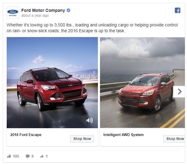 anúncio de carro baseado no clima no Facebook